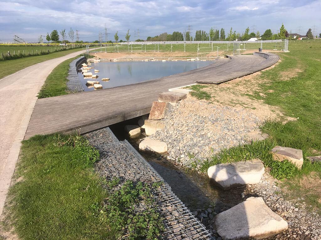 Teichanlage mit nachgeschalteter Versickerung des Bachlaufes.